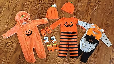 Baby Boy or Girl Halloween Pumpkin Clothing Lot 0 - 3 -  6 Months