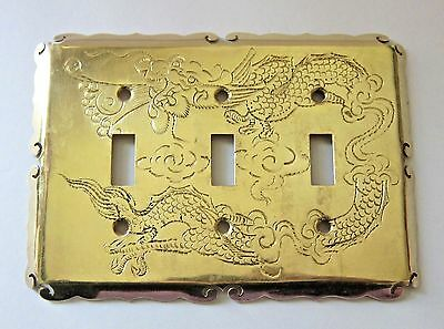 Vintage BRASS DRAGON Triple Toggle SWITCH PLATE Asian WALL COVER