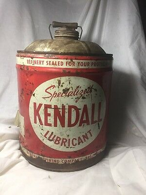 Vintage Kendall 5 Gallon Wooden Handle Advertising Gas Motor Oil Can