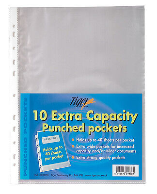 10 A4 Extra Capacity Punched Pockets Strong Plastic File Document Wallet-301078