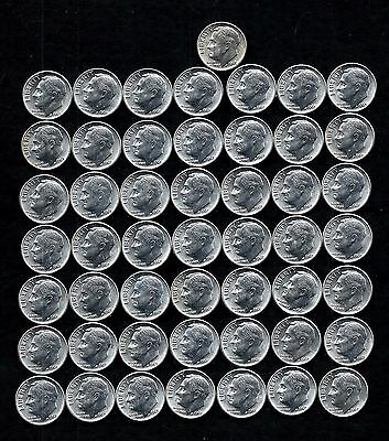 1963-P Silver Roosevelt Dime Roll (50 Coins) 90% Silver  Lot N14