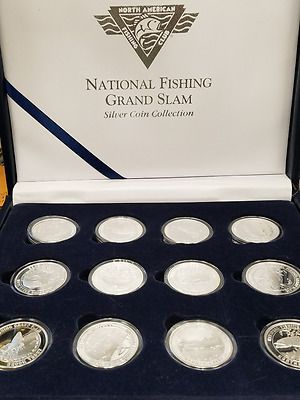 National Fishing Grand Slam Collection 23 Coins Silver Plated 1 Coin 1 oz 999
