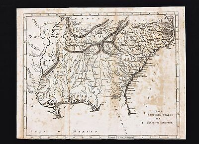 1812 Southern States Map Mississippi Territory Georgia South Carolina ORIGINAL
