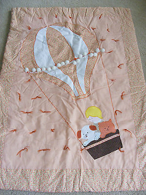 Handcrafted Baby/child Wall Hanging Quilt Decor - Hot Air Balloon - Orange/white