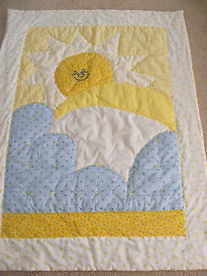 Handcrafted Baby/child Wall Hanging Quilt Decor - Yellow Blue White Print- Cute!