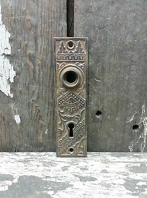 Vtg Old Antique Fancy Cast Iron EASTLAKE Door Knob Keyhole Backplate Plate Cover
