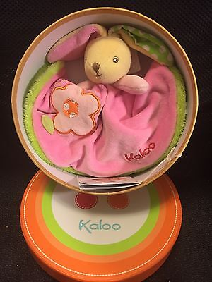"Kaloo Colors Round Doudou Rabbit Flower - 8"" Soft Plush Toy - Baby Gift  -Lovey"