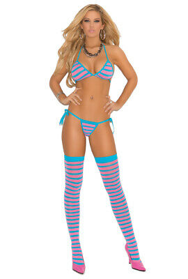 Blue and pink striped 3 piece thong stripper set