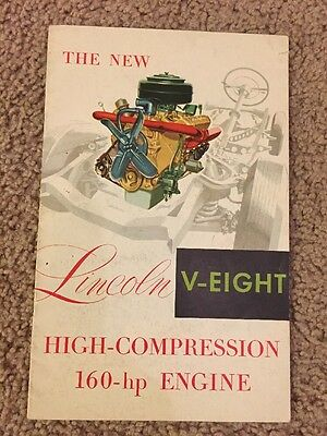 1952 Lincoln V-eight Engine Advertisement Booklet