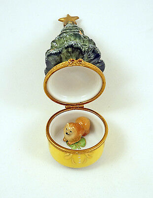 New French Limoges Box Pomeranian Dog Puppy &decorated Christmas Tree Gold Star