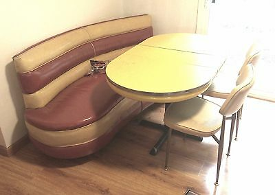 Very Cool Vintage Restaurant Bench + Formica Dining Table and (2) Chairs