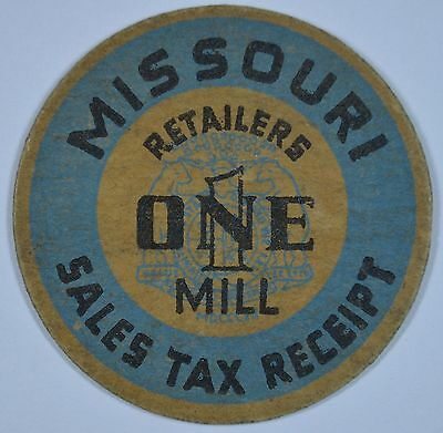 Missouri Sales Tax Receipt/Token One Mill    In very nice condition  (RD47)