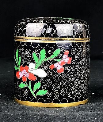 Antique 1920s Chinese Cloisonne Tea Caddy Jar - Black Red Green Floral