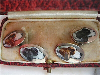 RARE Antique ART DECO Italian 800 SILVER enamel dogs hounds hunt CUFFLINKS cased