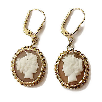 8ct 333 Gold Ohrringe Gelbgold mit Kamee cameo earrings