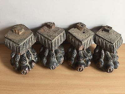Antique Anglo Indian original Teak wood Carved Claw Feet of Almirah Armory