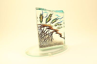 Alisha Volotzky Intaglio Cut Carved Stained Art Glass Sculpture w/ Base Signed