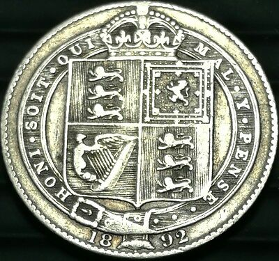 1892 Great Britain Shilling silver Victoria coin VF  #ch498