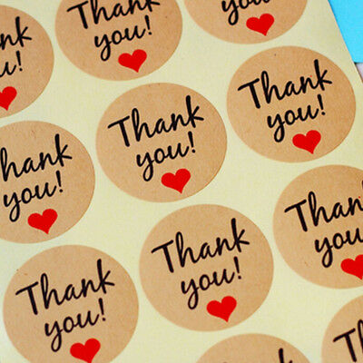 120pcs Paper Tags Thank You Love Heart Stickers Kraft Labels DIY Gift Wrap Decal