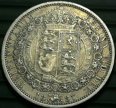 1887 Great Britain HALF-CROWN silver antique UK coin aEF #ch494