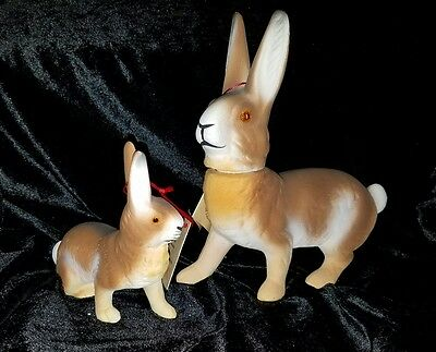 Lot 2 Two German INO SCHALLER Easter Bunny Rabbits Paper Mache Candy Container