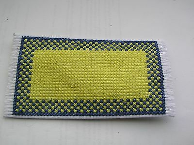 Dolls house rug cross stitch blue and yellow