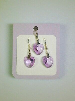 Crystal glass Heart set Pale Lilac drop earrings and pendant