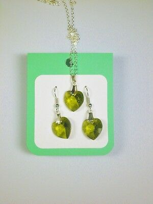 Crystal glass Heart set Olive Green drop earrings and pendant
