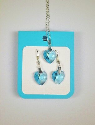 Crystal glass Heart set Pale Blue drop earrings and pendant