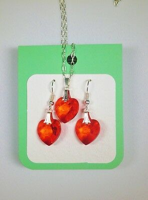 Crystal glass Heart set Bright Red drop earrings and pendant