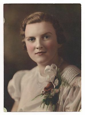Teenage Girl Confirmation Portrait Hand Tinted Antique 1930's Photo Rockford IL