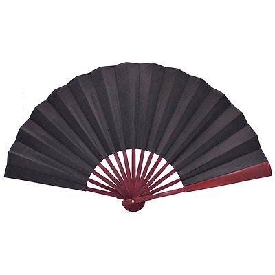 Metable Large Black Silk Folding Fan with Bamboo Ribs Chinese Style Hand Held Fa