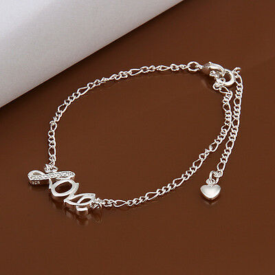 925 Sterling Silver Plated Fashion LOVE Anklet for women