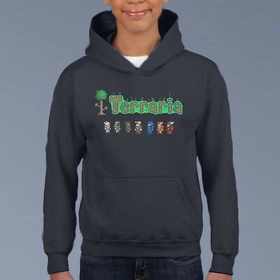 Terraria Kids Hoodie, Youth Gamer Pullover Size 6-12 Computer Game Sweat Shirt