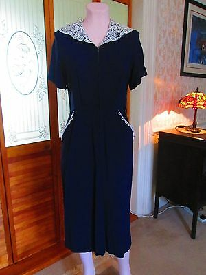 Original vintage American 30's/40's Blue rayon crepe dress. Size 10/12
