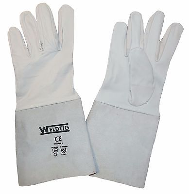 Grey TIG Welding Leather Gauntlets/Gloves - Kevlar Stitched Soft Goat Leather