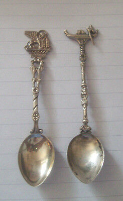 Italy 2  Venezia 800 silver winged lion & Venice gondolier silver spoons