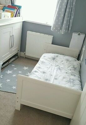 Mamas and Papas Furniture set Cot bed and changing table white cream VGC
