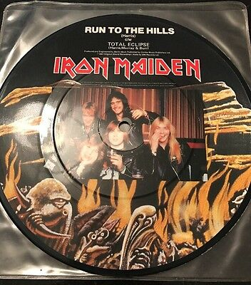 "Iron Maiden Run To The Hills 7"" Picture Vinyl Excellent Condition"