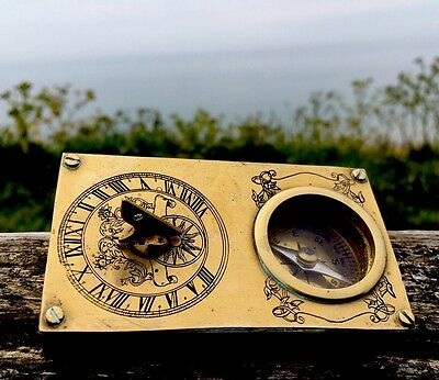 Beautiful Rare Antique Art Nouveau Brass Engraved Sundial&Compass FreeUKPostage