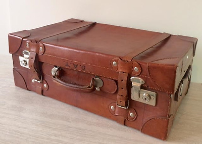 Art Deco English Large Leather Suitcase with Original Cover