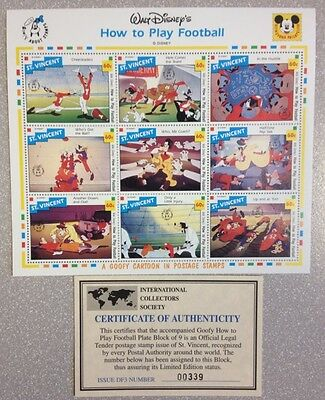 St. Vincent 1992 Walt Disney Postage Stamps Goofy Cartoon How to Play Football