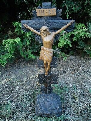 Antique Black Forest Wood Carved Wood Jesus Christ Crucifix-Cross-Saint-Holy