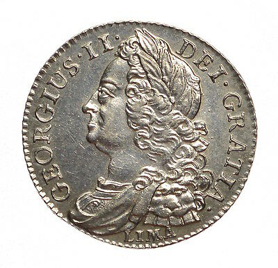1745 Shilling Lima Below Bust George Ii #253
