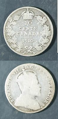 1910  Canada 10 cent SILVER -  Solid GOOD  stk#2a28