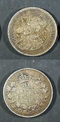 1918  Canada 10 cent SILVER  - Solid VG   stk1v6