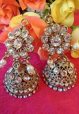 Latest Big jhumka jhumki Pearl  indian Jewellery Earring Set Stone Gold UK