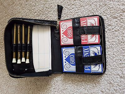 Bridge Playing Set In Leather Carry Case. Unopened Playing Cards. Vintage.
