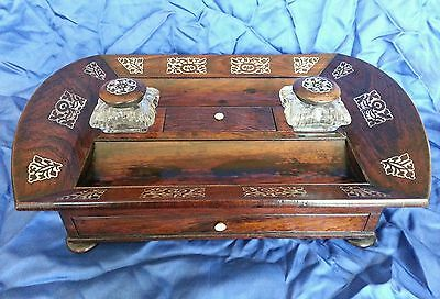 A William lV . Rosewood veneered Desk Standish / Ink well stand.Circa 1830's