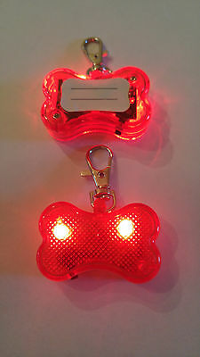 2 pcs Safety Flashing Glow  Light Blinking LED Dog ID Tags Collar Bone Pendant